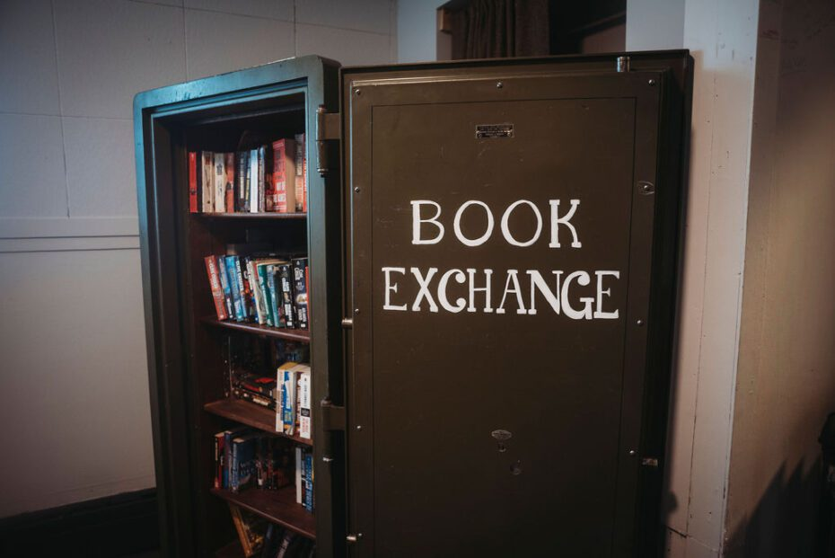 book exchange in communal space in safe